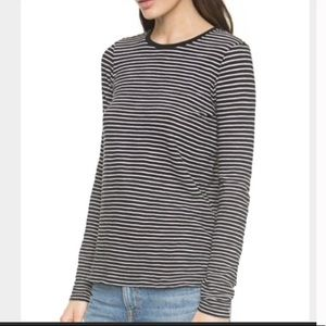 Vince Boxy Black and White Striped Long Sleeve | S